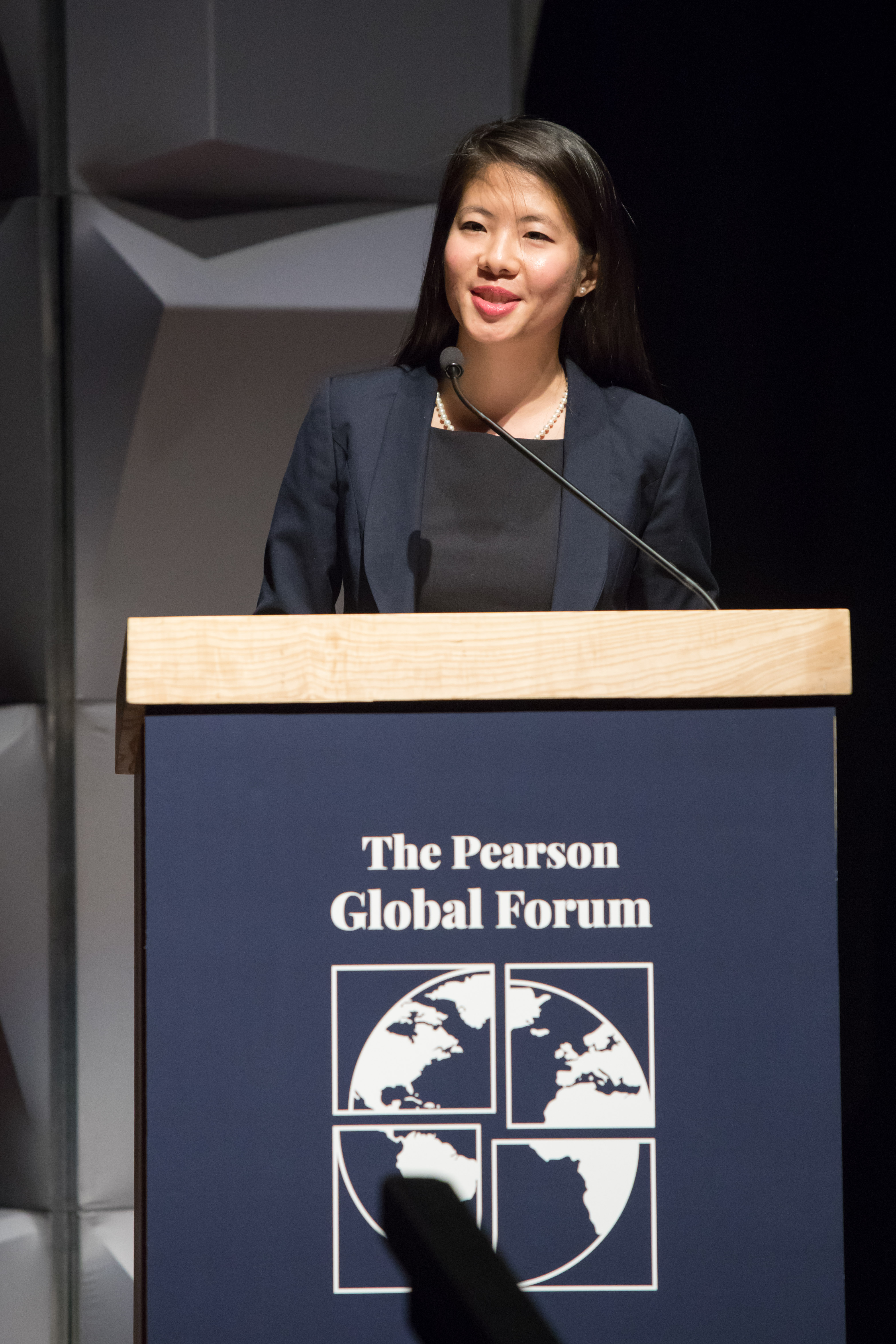 Pearson Fellow Elaine Li (MPP '19) speaks at the inaugural Pearson Global Forum in October 2018.